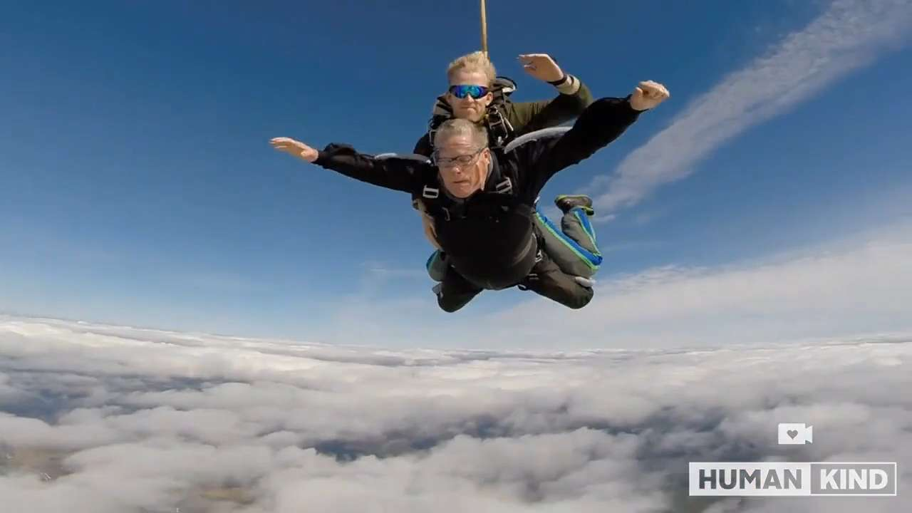 He shouldn't be able to walk, yet he's skydiving