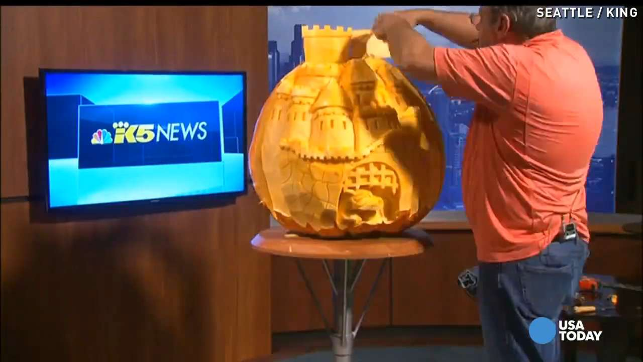 Man turns 200-pound pumpkin into a castle