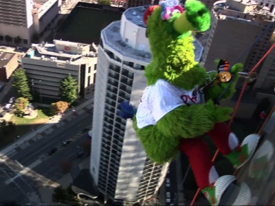 Philly Sports Mascots Rappel Down Skyscraper