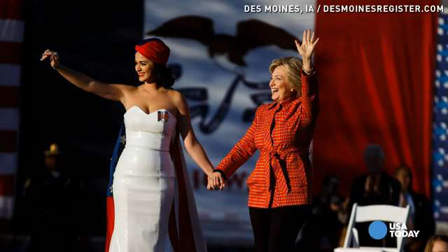 Singer Katy Perry performs at a rally for Democratic presidential candidate Hillary Clinton before the Iowa Democratic Party's Jefferson-Jackson Dinner in Des Moines, Iowa, in October.