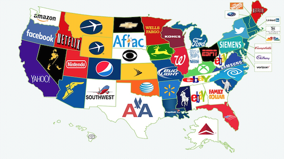 The most popular brands in America, by state