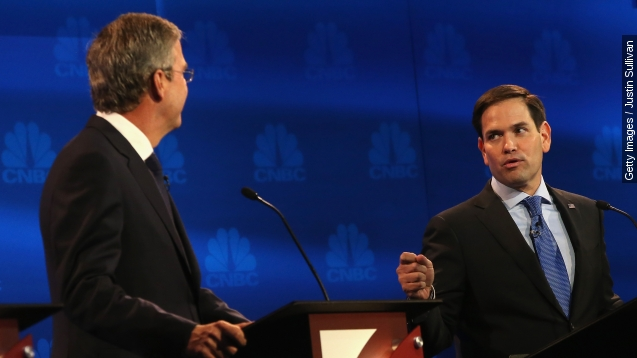 Florida Sen. Marco Rubio makes a point during the CNBC Republican presidential debate on Oct. 28, 2015, in Boulder, Colo.