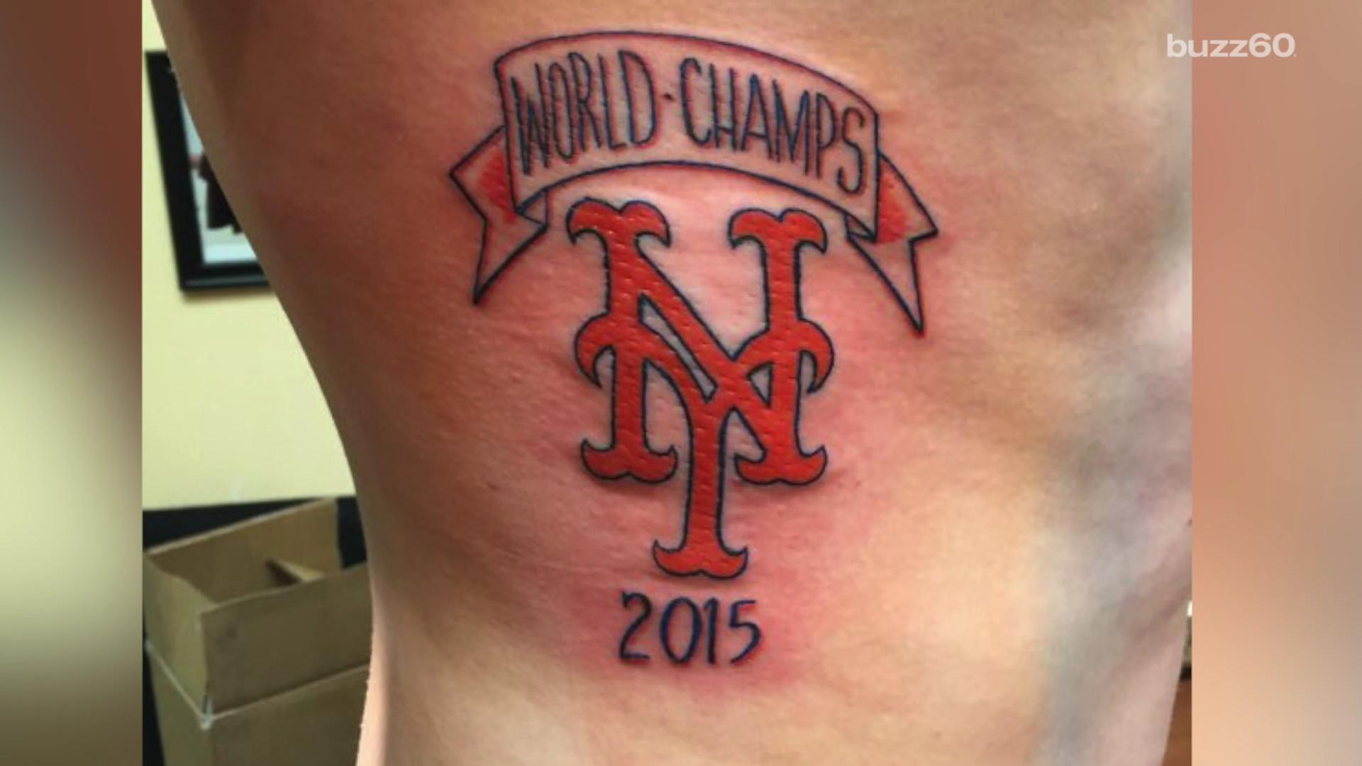 A Mets' fan says he has no regrets over getting a tattoo declaring the team the 2015 World Champs Mara Montalbano (@maramontalbano) explains.