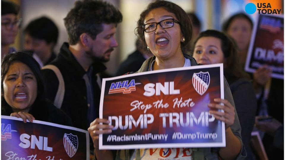 Protesters hold 'Dump Trump' rally outside SNL studio