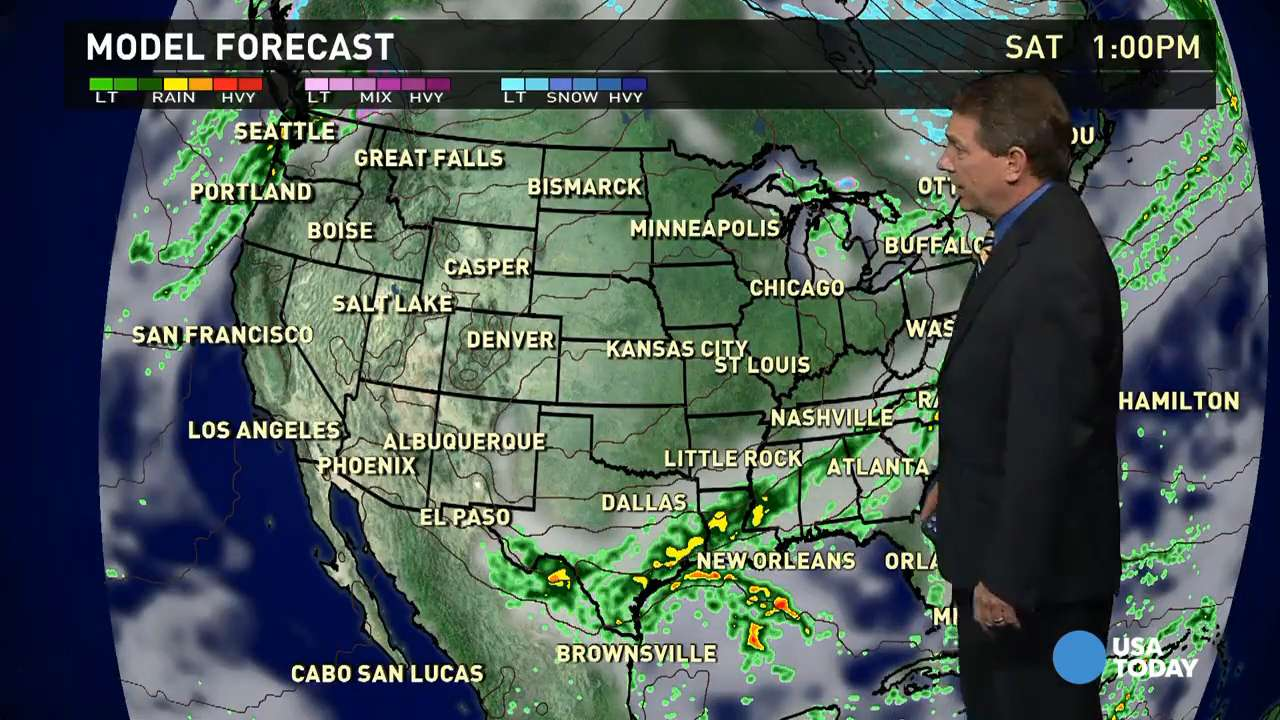 Saturday's forecast: Cold front slows in South