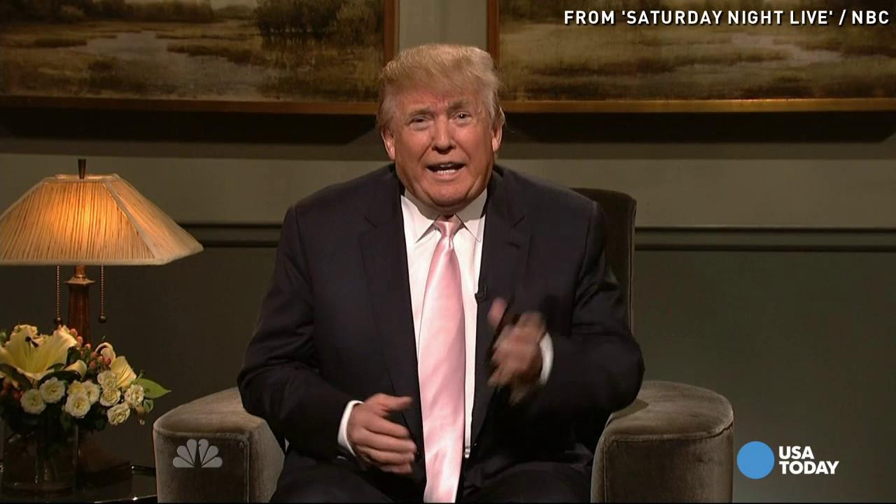 """""""Saturday Night Live"""" cast member Cecily Strong, and Donald Trump prior to his hosting duties on """"Saturday Night Live."""""""