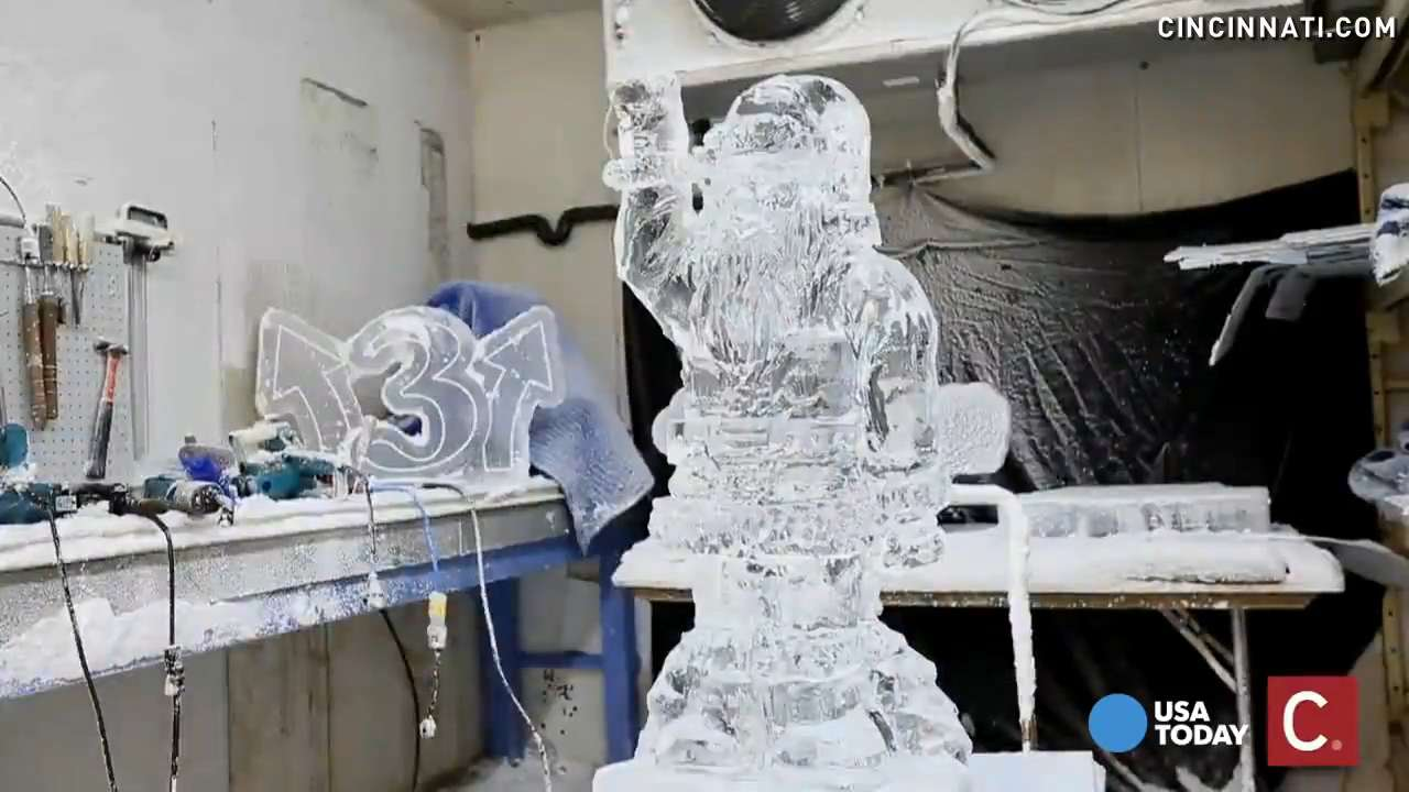 Ice sculptor Jonathan Michael spends hours carving a masterpiece that will eventually melt.