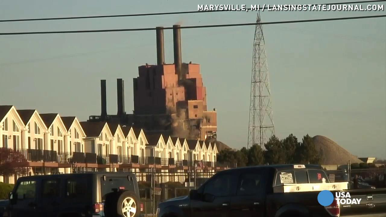 Caught on camera: Giant power plant implodes