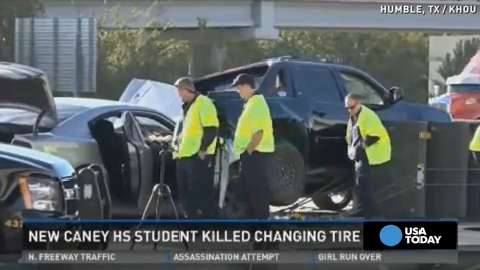 Teen killed while changing tire on highway