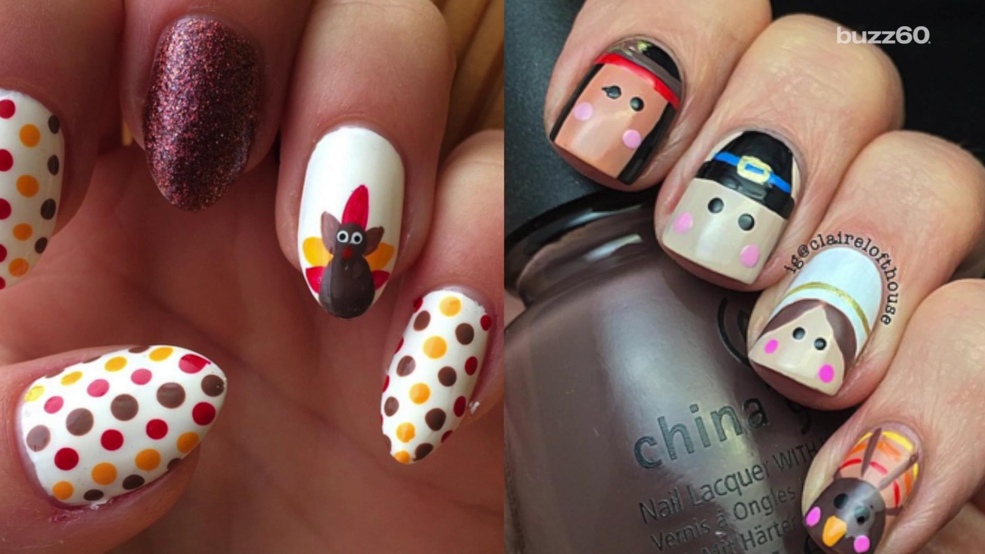Flashy and fun Thanksgiving nail art
