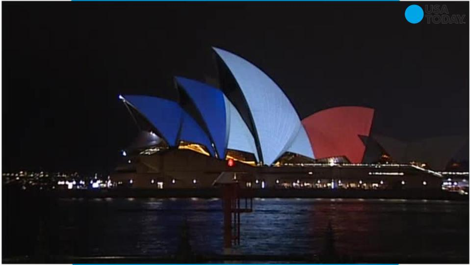 World Stands by Paris by Representing French Flag in World Landmarks
