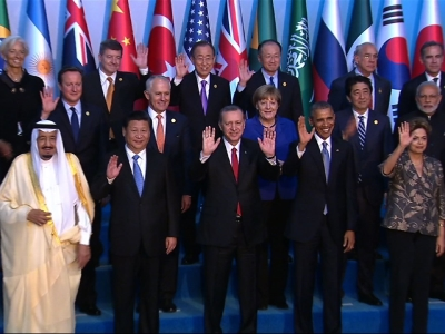 President Obama observes a minute of silence with other world leaders for the Paris attack victims during a session of the G20 Summit in Antalya, Turkey on Nov. 15, 2015.