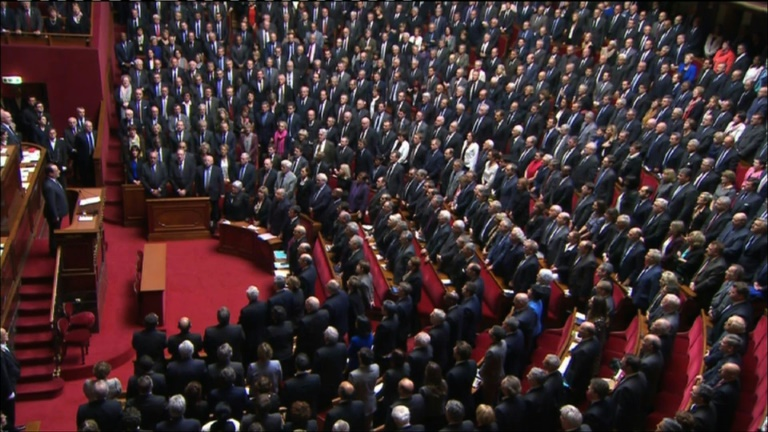 French lawmakers sing the national anthem