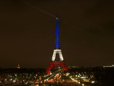 Raw: Eiffel Tower Shines Blue, White and Red