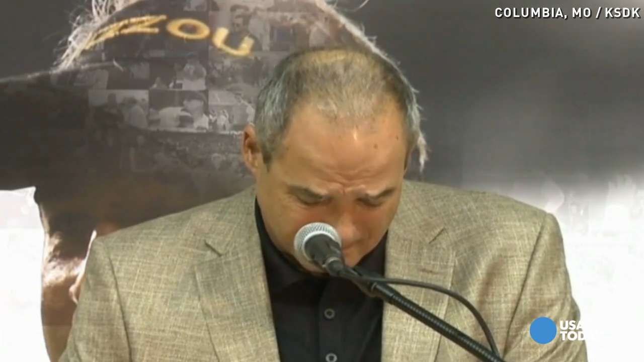 Mizzou Coach Gary Pinkel chokes up over retirement