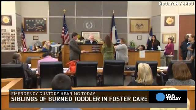 The siblings of a one-year-old child that was burned to death in an oven were placed in foster care following an emergency custody hearing.