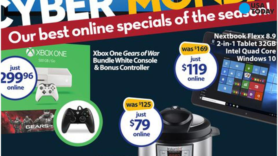 The first page of Walmart's Cyber Monday print ad.