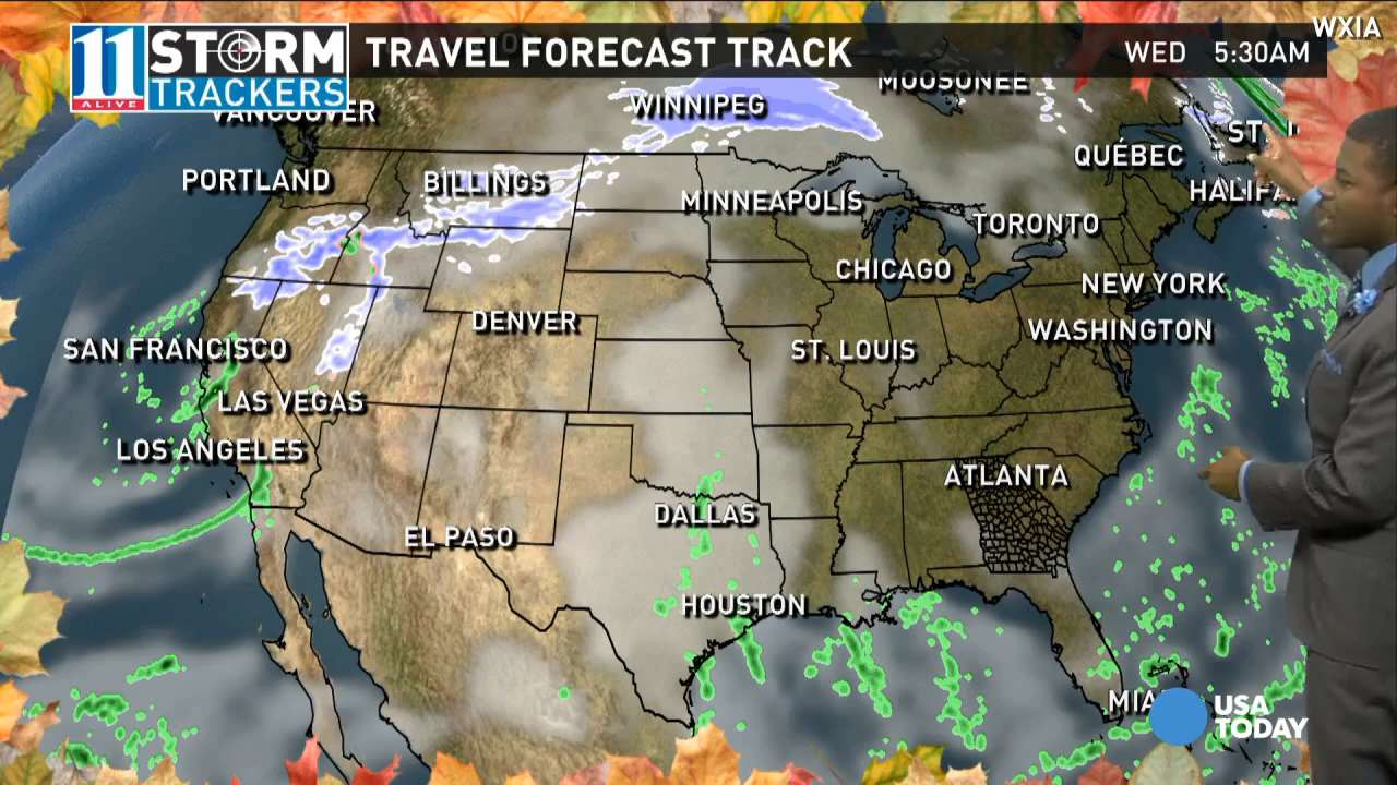 Thanksgiving travel weather forecast Stormy for western central US