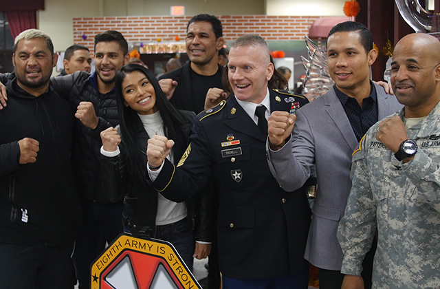 Command Sergeant Major John Wayne Troxell discusses link between military and UFC during Thanksgiving visit to Camp Yongsan