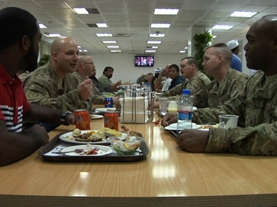 U.S. troops celebrate Thanksgiving in Kabul