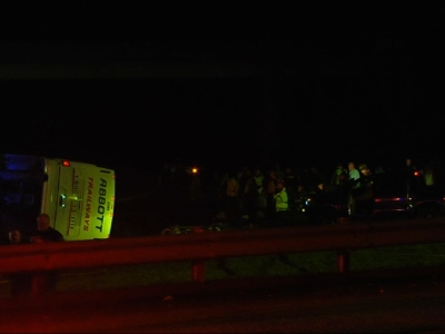 Bus packed with college students overturns
