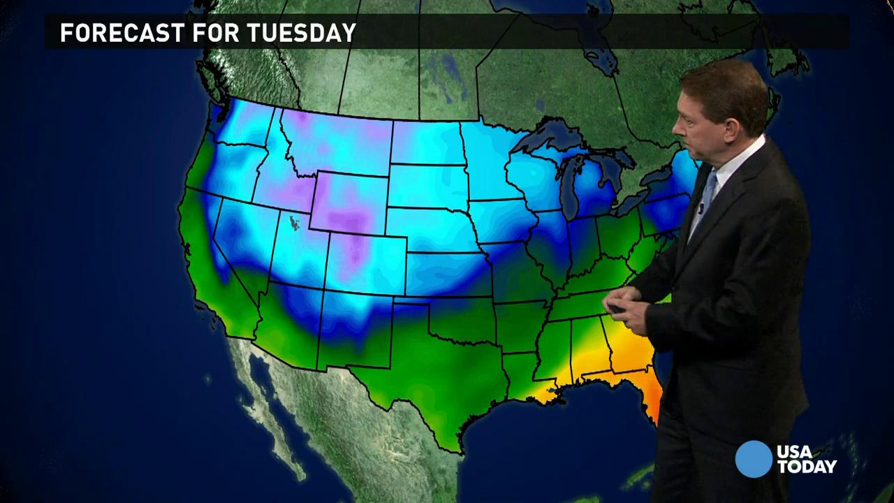 Tuesday's forecast: More snow in the North