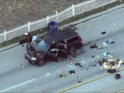 Raw: California Suspects' Bullet-Riddled SUV