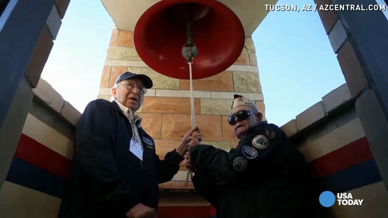 USS Arizona survivors ring bell to honor Pearl Harbor