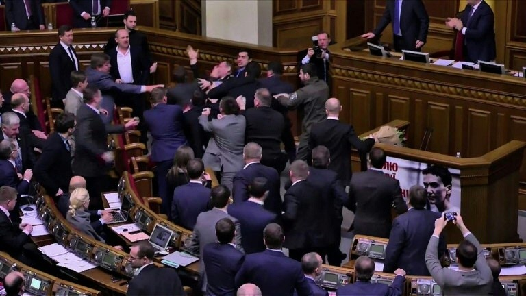 Brawl breaks out in chamber, PM carried away