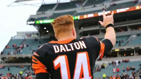 Cincinnati Bengals quarterback Andy Dalton (14) looks on from the sidelines against the Pittsburgh Steelers in the second half at Paul Brown Stadium.