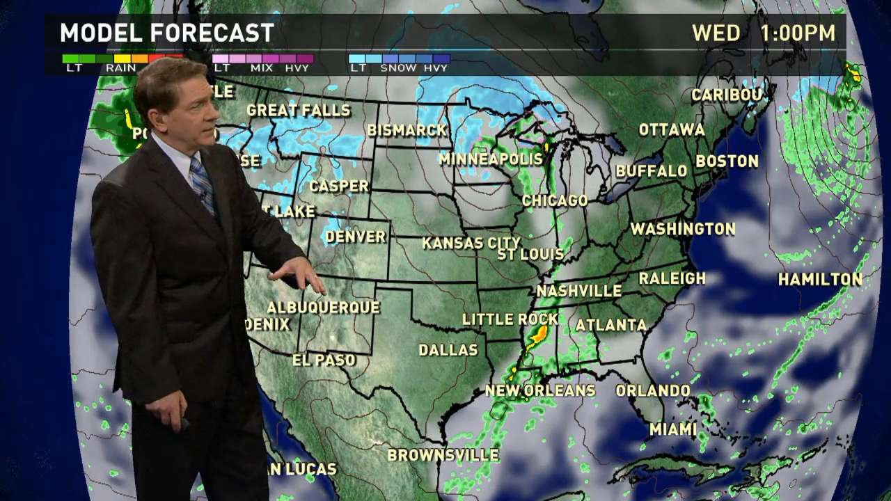 Wednesday's forecast: Big winter storm lifts north