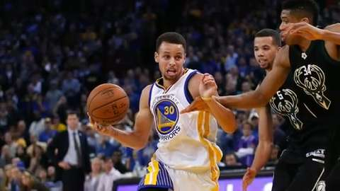 Golden State Warriors guard Stephen Curry (30) leads the USA TODAY Sports MVP voting.