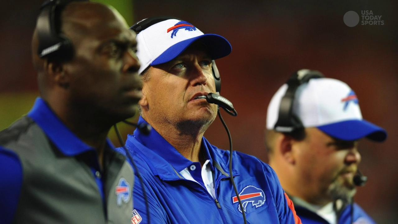 Buffalo Bills head coach Rex Ryan just before opening kickoff against the New York Jets at MetLife Stadium.