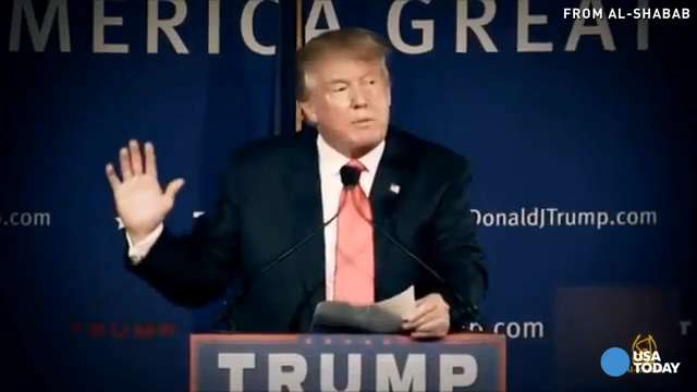 Clips of Republican presidential candidate Donald Trump are included in a recruitment video purportedly released by an al-Qaeda-affiliated terrorist group. The clips include Trump speaking about his plan to ban all Muslims from entering the U.S.