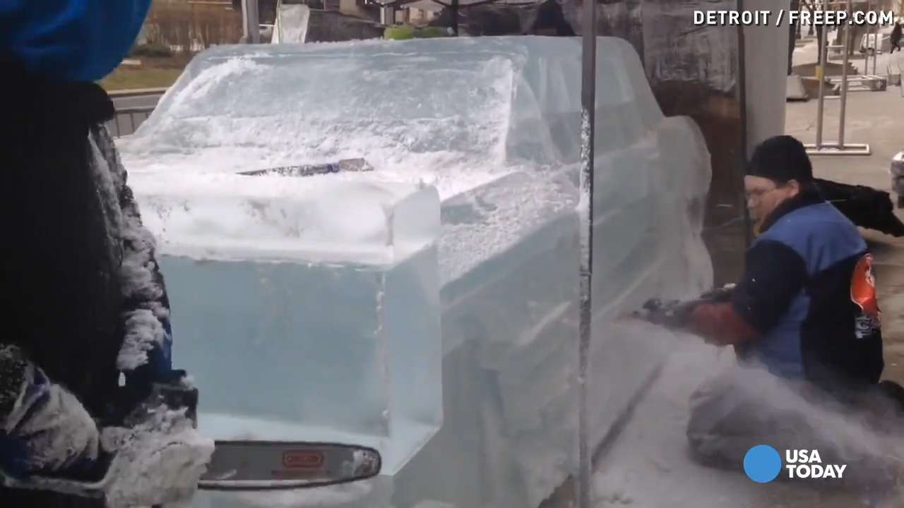Professional ice sculptors recreate the 1957 Chevy Nomad, 1966 Ford Mustang, and other classic cars just in time for the North American International Auto Show in Detroit.
