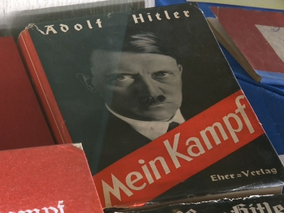 Copies of the two volumes of 'Hitler, Mein Kampf - eine kritische Edition' (Hitler,  My Struggle - a critical edition) are on display at the bookstore 'Lehmkuhl' during a press conference in Munich, Germany, Jan. 8, 2016.