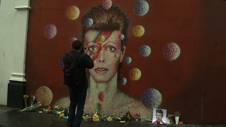David Bowie fans pay tribute to music legend