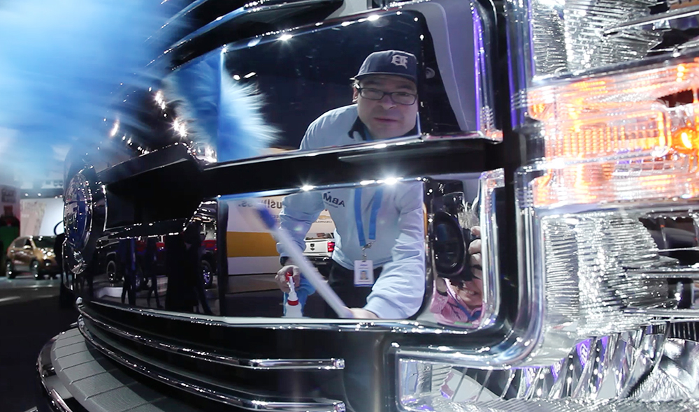 Keeping the cars clean at the 2016 North American International Auto Show is hard work, but as Adam Cantu explains it is worth it.