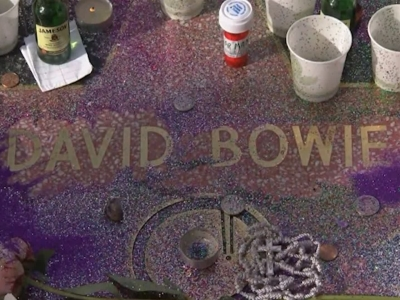 Glitter, Candles Cover Bowie's Star in Hollywood