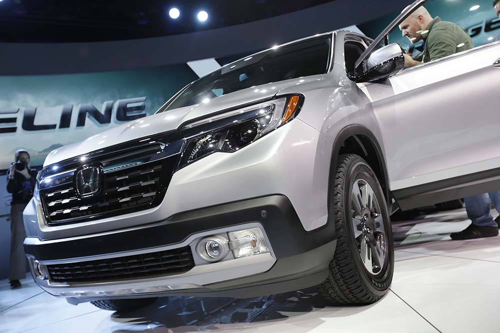 Honda reveals the new Ridgeline at the 2016 North American International Auto Show in Detroit.