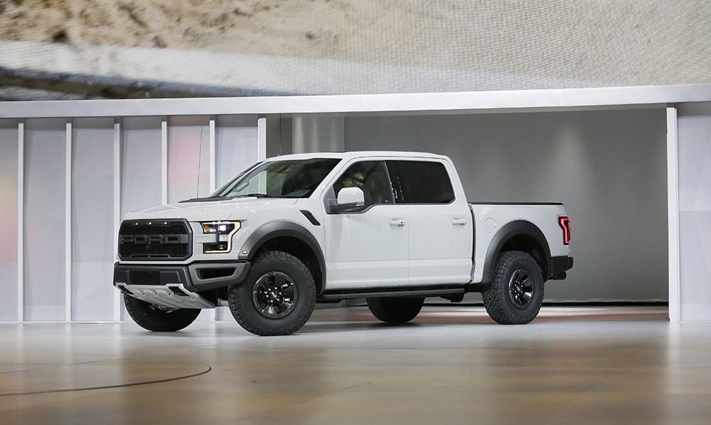 Ford introduces the new model of their powerful Raptor truck at the North American International Auto Show in Detroit.
