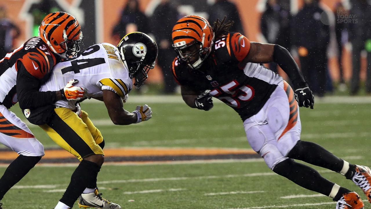 Cincinnati Bengals outside linebacker Vontaze Burfict (55) reacts after sacking Pittsburgh Steelers quarterback Ben Roethlisberger (7) during the third quarter in the AFC Wild Card game at Paul Brown Stadium.