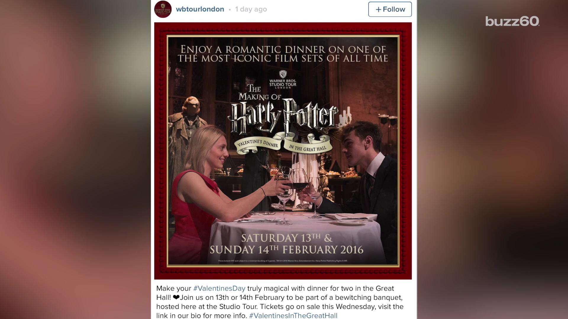 The most romantic Valentine's Day dinner for 'Harry Potter' fans