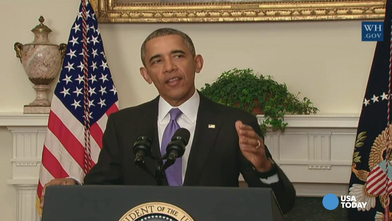 President Obama speaks about U.S.-Iranian relations, including the Iranian-American nationals that were jailed in Iran and are being freed as part of a prisoner swap, in the Cabinet Room of the White House Sunday.