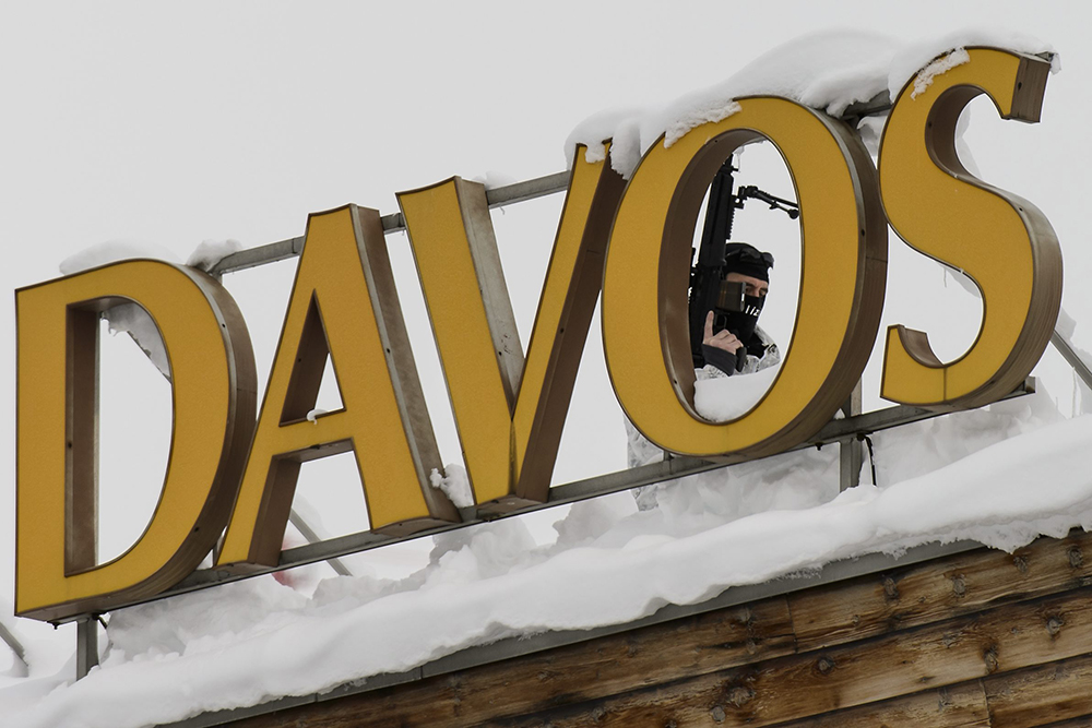 Security fences surround the area for the World Economic Forum in Davos, Switzerland in January.