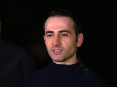 In this image made from video, former U.S Marine Amir Hekmat speaks to the media  in Landstuhl, Germany, Tuesday, Jan. 19, 2016.