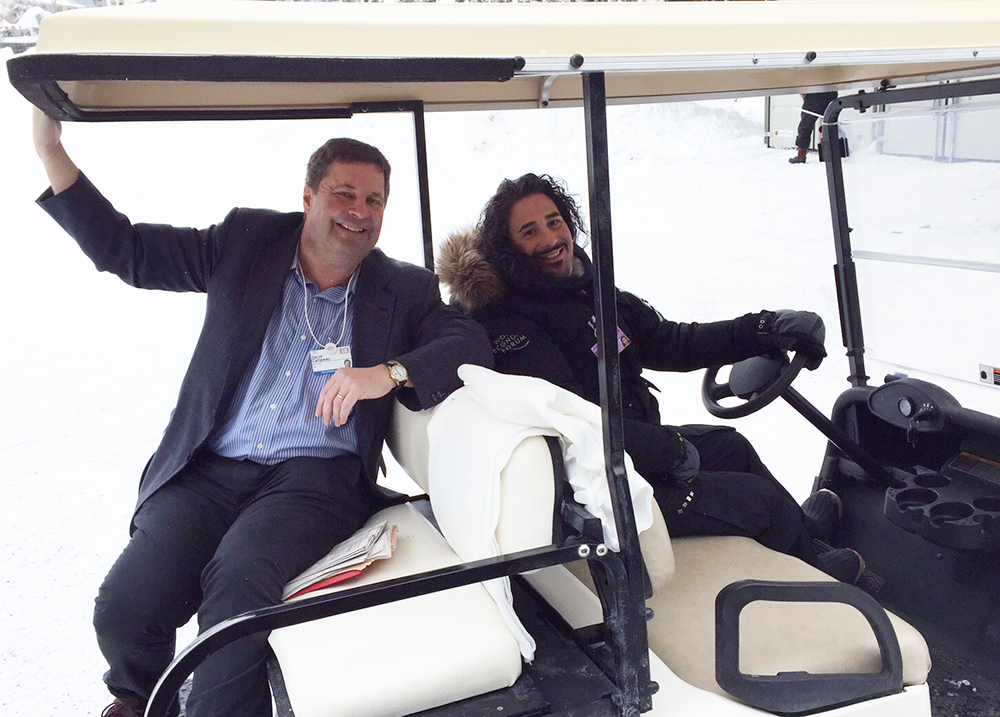USA TODAY editor reports from Davos golf cart