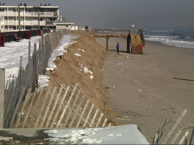 NJ Officials Tour Beach Damage After Storm