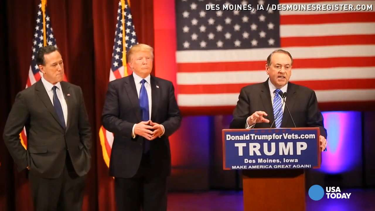 Huckabee, Santorum show up at Trump's Iowa event after debate