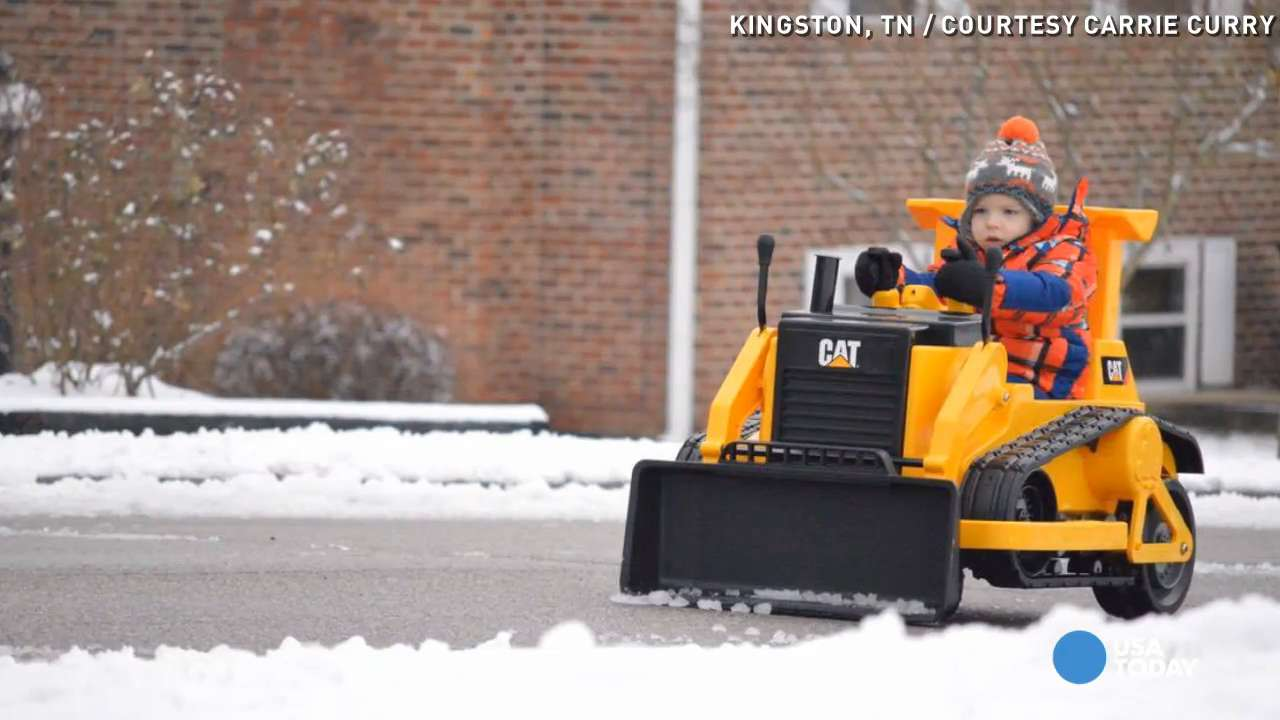 This 3-year-old took snow removal into his own hands